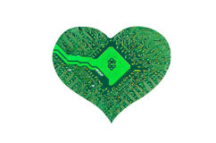 Heart from microcircuit. Isolated on white background Royalty Free Stock Images