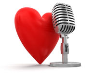 Heart with Microphone (clipping path included) Stock Photos