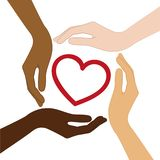 Heart in the middle of human hands with different skin colors royalty free illustration