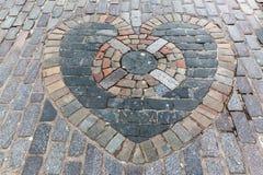 Heart Of Midlothian mosaik i Edinburg Fotografering för Bildbyråer