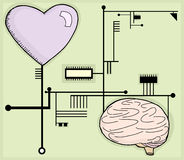 Heart and Mind Circuits Stock Image