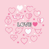Heart minimal outline icons Stock Images