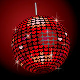 Heart Mirror Ball. Heart patterned red mirror ball Stock Images