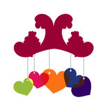 Heart mobile. A colourful mobile with hanging transparent hearts on a white background Royalty Free Stock Images