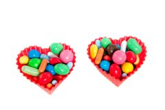 Heart molds filled with candy Stock Image
