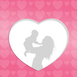 Heart with mom and son Royalty Free Stock Photo