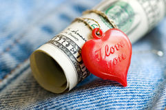 Heart and money Stock Image
