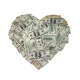 Heart from a money. Dengi in form heart on a white background stock images