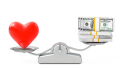 Heart with Money Balancing on a Simple Weighting Scale. 3d Rende Stock Images