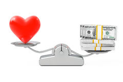 Heart with Money Balancing on a Simple Weighting Scale. 3d Rende Royalty Free Stock Photo