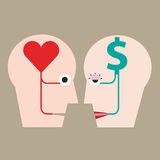 Heart and money in head concept Royalty Free Stock Image
