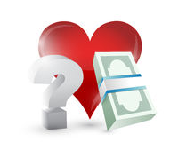 Heart money and questions illustration design Stock Image