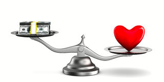 Heart and money on scales Stock Photo