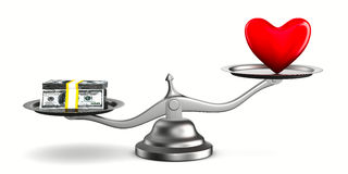 Heart and money on scales Royalty Free Stock Photo