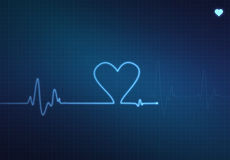 Heart Monitor. Heart-shaped blip on a medical heart monitor (electrocardiogram) with blue background and heart symbol