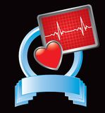 Heart monitor on blue display Stock Photos