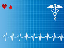 Heart monitor with caduceus Royalty Free Stock Photo