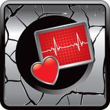 Heart monitor on cracked silver web button Stock Photography