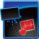 Heart monitor on halftone grungy template Royalty Free Stock Images