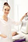 Heart monitor on postoperative recovery room. Stock Photo