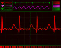 Heart monitor screen. With normal beat signal stock illustration