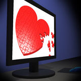 Heart On Monitor Showing Romantic Emotions Stock Photos