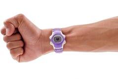 Heart Monitor Watch. On Male Wrist Royalty Free Stock Image