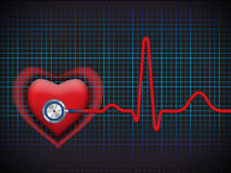Heart Monitoring. Template with heart symbol, stethoscope and normal electrocardiogram line royalty free illustration
