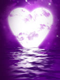 Heart Moon reflected  in water Stock Photo