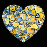 Heart Mosaic. Big blue-yellow heart mosaic filled with smaller hearts on black background Stock Photo