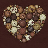Heart Mosaic From Chocolate Brown Cookies Stock Image