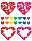 Heart mosaic, frame and rainbow set Stock Image