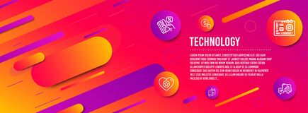 Heart, Motherboard and Journey path icons set. Credit card, Buy currency and Graph chart signs. Vector royalty free illustration