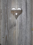 Heart motif in wooden shutter boards Stock Photos