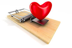 Heart in mousetrap.  3D Royalty Free Stock Photo