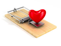 Heart in mousetrap. Isolated 3D Stock Photography