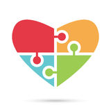 Heart of multicolor puzzles Stock Images