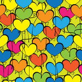 Heart multicolored balloon seamless pattern.  Royalty Free Stock Photo