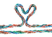 Heart multicolored computer cable Royalty Free Stock Image