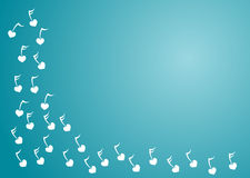 Heart Music Blue Corner. Border with white music notes in blue background, with space to write or put image Royalty Free Stock Photos