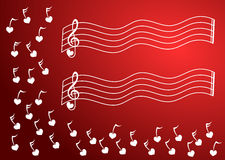 Heart Music Notes Corner. Corner with music notes in redbackground, with staves without notes to write the message Stock Images