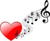 Heart music. Vector illustration of music heart stock illustration