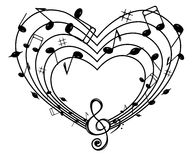 Heart of the music . On the white background of black notes and treble clef heart Royalty Free Stock Photos