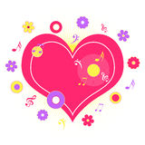 Heart with musical notes. Pink heart with flowers and musical notes Stock Photography