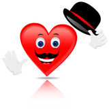 Heart. With a mustache and hat Royalty Free Stock Photo