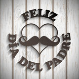Heart with a mustache and text feliz dia del padre Stock Photography