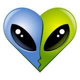 Heart N7. Kissing aliens. Two aliens kissing. Hearts series Royalty Free Stock Photos