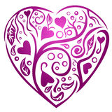 Heart of nature. An elegant illustration of a heart with leaves and vines design Royalty Free Stock Photo