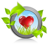 Heart in nature frame Stock Images