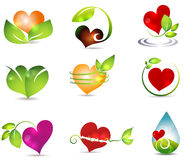 Heart and nature. Symbols. Bright and clean designs. Beautiful color combinations. Nature healing power Stock Photography